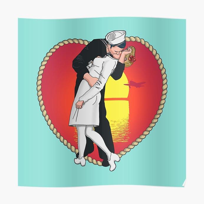 V-J Day Kiss Poster #kissingthewargoodbye #illustration #digitalpainting #photoshop #poster #sticker