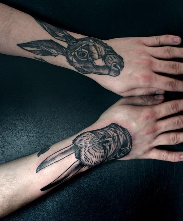 Arbeiten #line #black #tattoo #art #rabbit