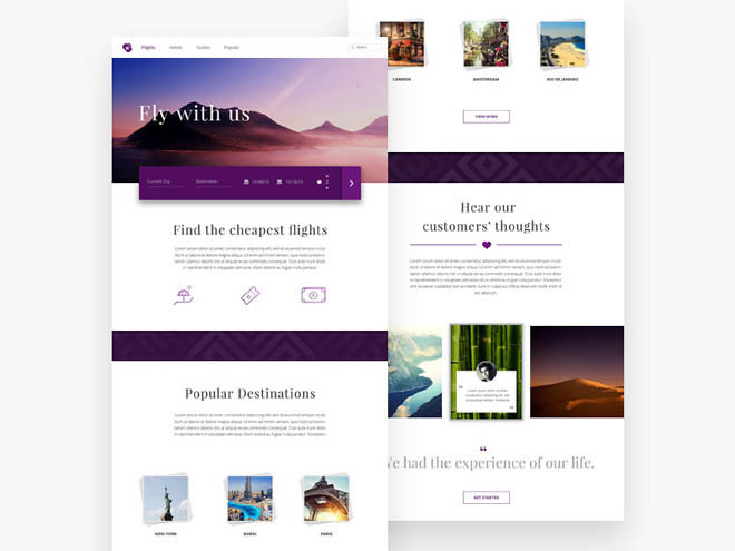 Flights : Free Travel PSD Website Template