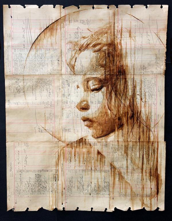 Michael Aaron Williams's Coffee Portraits on Antique Paper | Hi Fructose Magazine #coffee