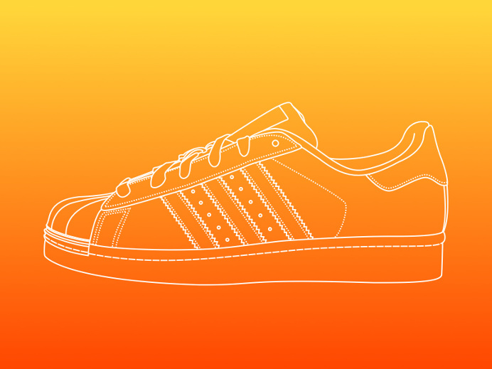 Line illustration - Adidas Superstar by Equal Parts Studio