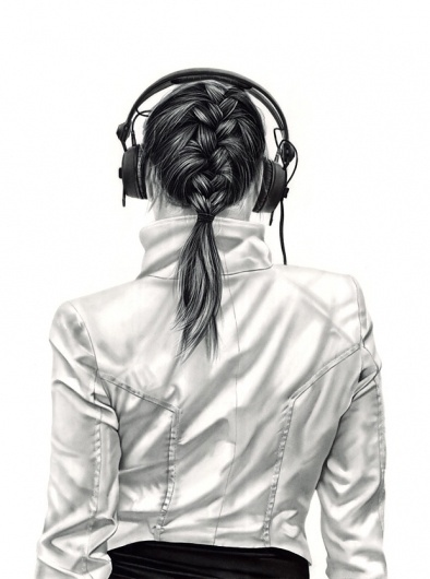 Charcoal Drawings by Yanni Floros - Girls with Headphones | Design.org
