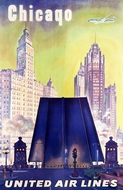 Chicago - United Airlines (Michigan Avenue Bridge) by Artist Unknown   Vintage Posters at International Poster Gallery #chicago #airlines #1955 #united #poster
