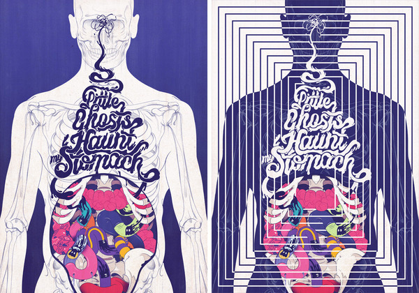 Little Ghosts Andrew Archer #ghost #body #anatomy #illustration #stomach
