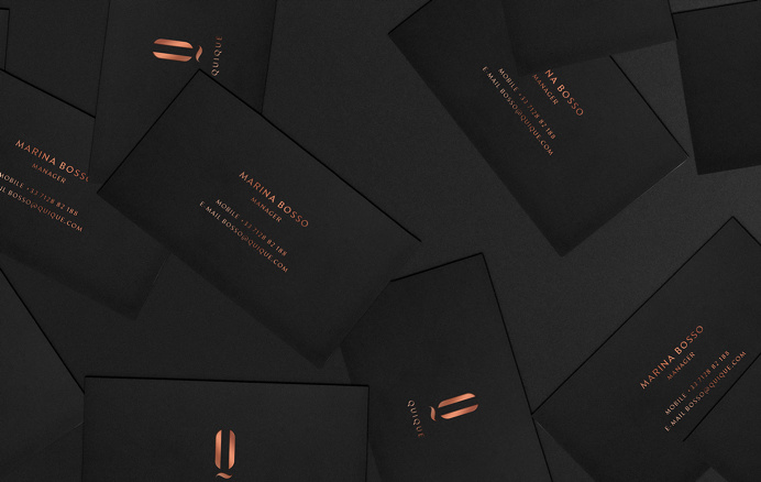 QUIQUE cosmetics copper black dark gold golden logo logotype branding corporate design identity business card print letter letterhead moder