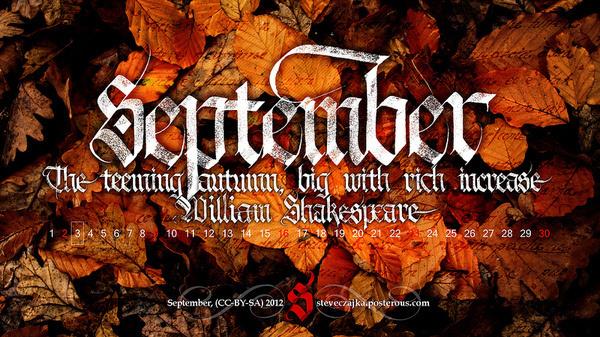 All sizes | September 2012 Calendar | Flickr - Photo Sharing! #calligraphy #red #fall #orange #gothic #shakespeare #september #season #wallpaper #textura