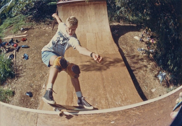 """what youth back den billy deans by mark oblow """"billy deans throwing down that aggressive 80's punk rock frontside grind. waimanalo, oah"""