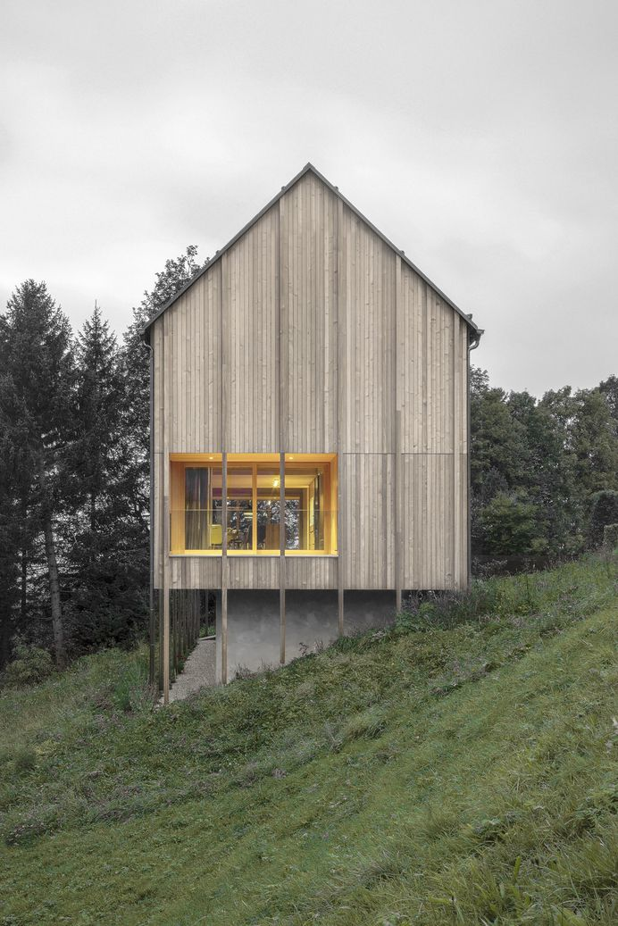 Typical farmhouse reimagined in modern contexts by Bernardo Bader Architects