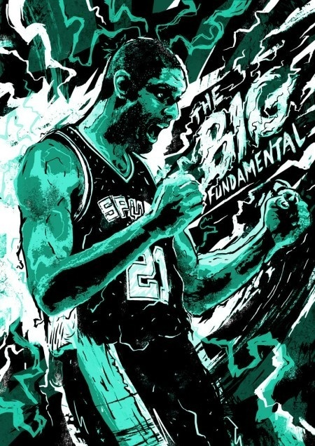 Tim Duncan - The Big Fundamental #electric #gloryy #power #victory #spurs #fist #illustration #bolt #sports #winning #portrait #energy #flash #nba #basketball