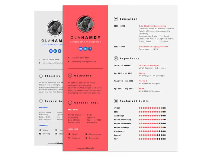Free Interactive Resume Template with Clean Design