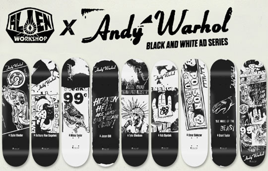 Google Image Result for http://www.formatmag.com/wp content/uploads/2011/11/alien workshop andy warhol skateboards.jpg #alien #andy #white #& #warhol #workshop #black #skateboard