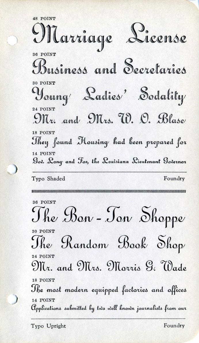 Typo Shaded and Typo Upright type specimen #type #specimen