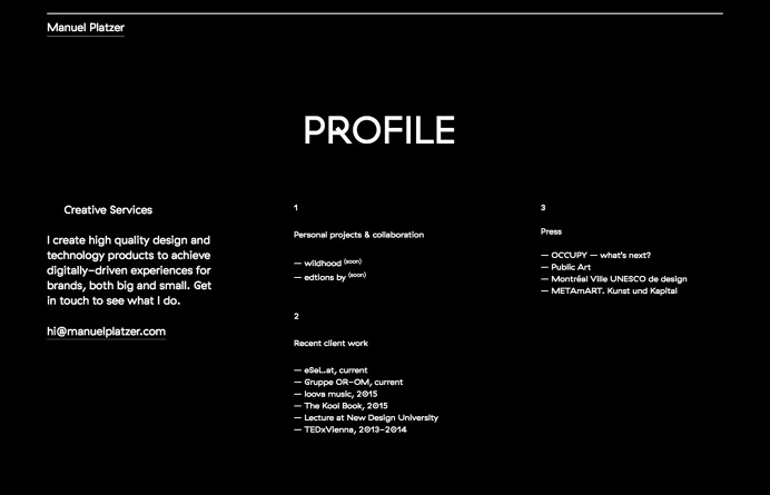 Manuel Platzer, inspiration N°337 published on The Gallery in date August 17th, 2015. #website
