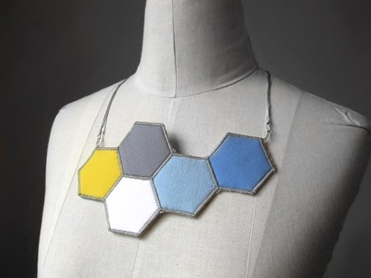 shapes necklace hexagon by cristinapires on Etsy #etsy #handmade #hexagon #necklace