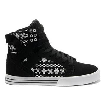 Supra Skytop Black White Snowflake Leatehr Trainers Womens #shoe