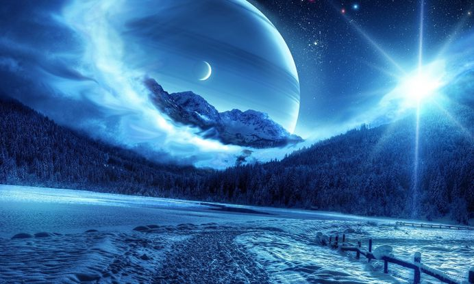 Best Fantasy Wallpapers Planet Winter Night Images On Designspiration