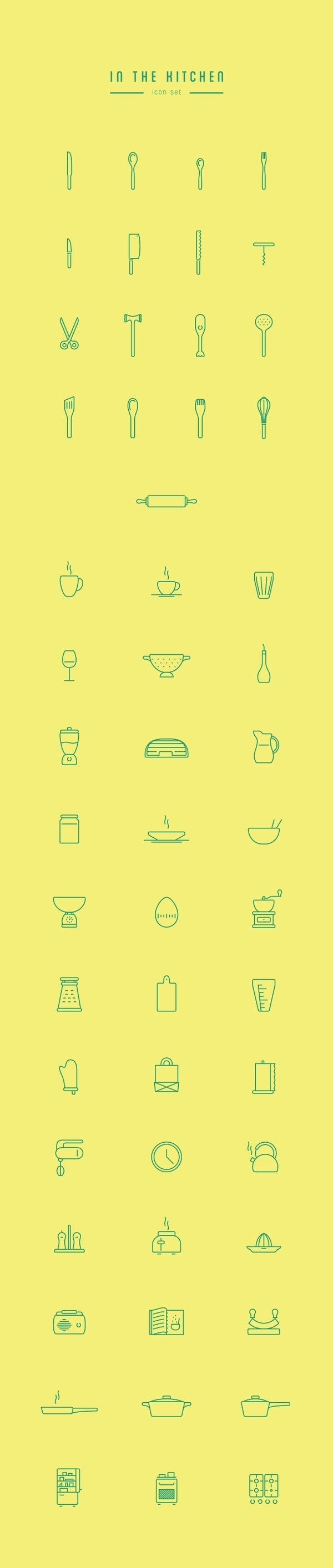 Free High Quality Kitchen Line Icon Set by Wojciech Zasina #icon #freebies #design #graphic #free #kitchen