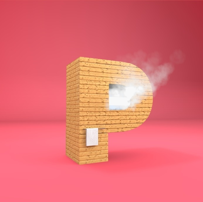 P - Sauna #lettering #cgi #design #poster #3d #typography