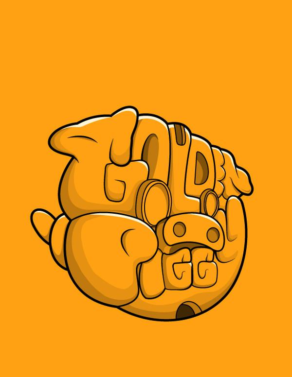 Golden Piggy | Lettering on Behance #lettering #vector #design #pig #illustration #golden #gold #face #animal #typography