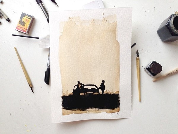 JensK True Detective #coffee #illustration #ink #poster
