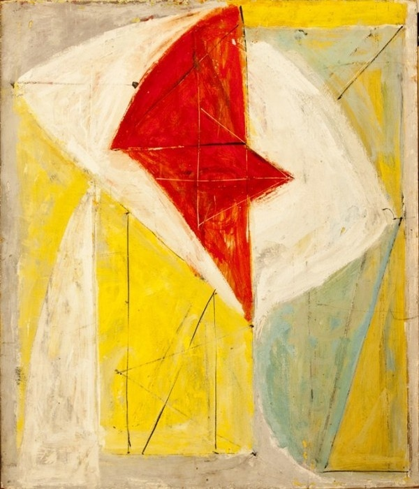 Still life with red abstract painting by Fritz Bultman in rare works of art exhibition #abstract #rare #expressionism #exhibition #sculptures #artworks #paintings