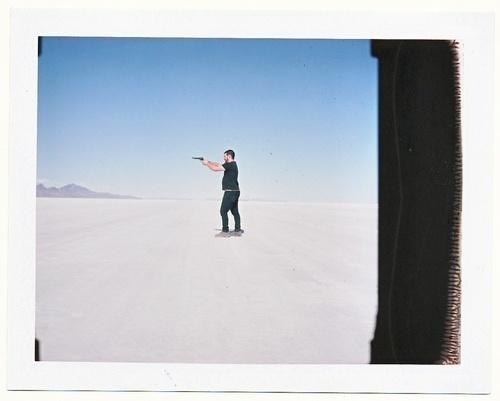 Ian Matteson — Mamiya RB67 w/ Polaroid Back Bonneville Salt... #gun #polaroid #salt #flats