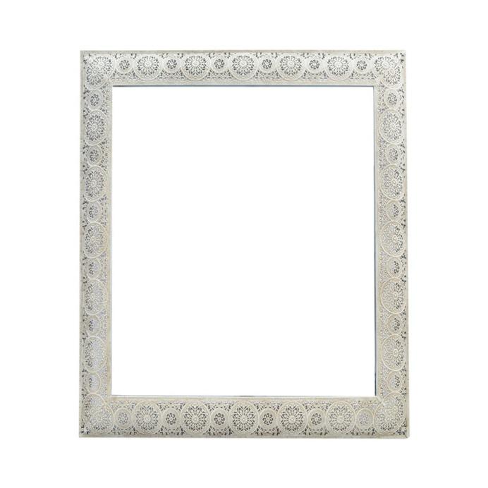 Moroccan Cream Square Mirror, 61cm