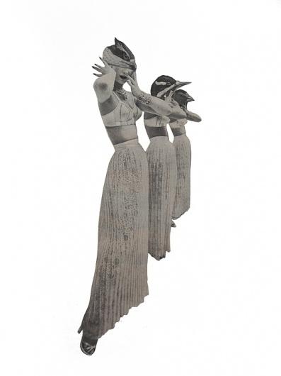 Dan Bina, The Silence After Sirens #bina #dan #bird #sirens #women #art #collage