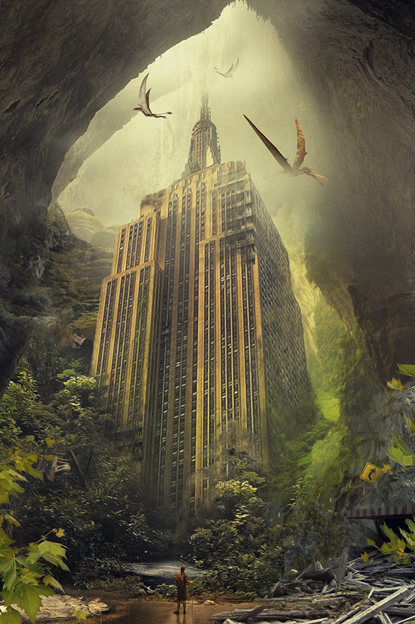 Empire State Matte Painting on Behance #overgrown #pterosaur #dystopia #flight #pterodactyl #empire #illustration #painting #state #time #dinosaur #future #jungle