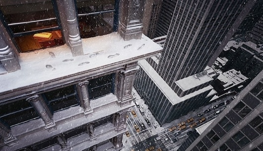 Nice DHL Advertisement... - Touchpuppet #city #taxi #skyscraper #snow
