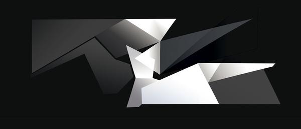 Black and White Shards Gardner Keaton Structured Art #design #illustration #posters #art #graphics