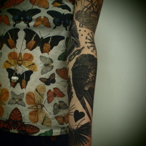 gin 'n' bird #butterfly #illustration #ink #tattoo