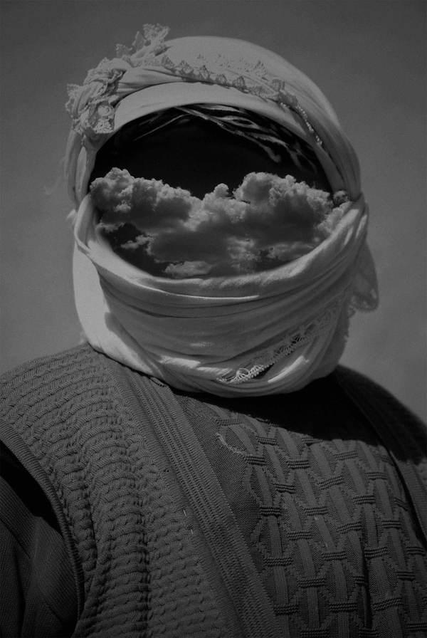 Pale Grain #cloud #oriental #print #headscarf #manipulation #face #orient