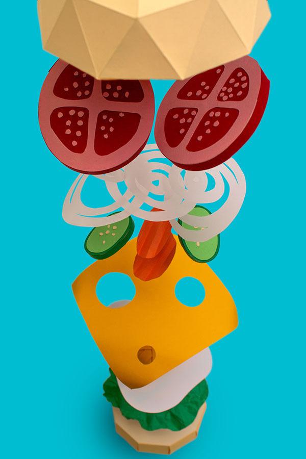 Deleve / Healthy food on Behance #craft #burger #paper #food