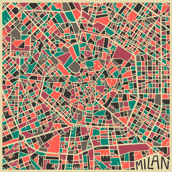 Milan Art Print #abstract #obsessed #design #milan #maps