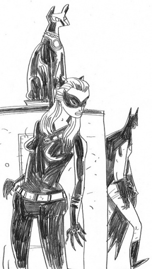 Catwoman Hiding from Batman Sketch | Flickr - Photo Sharing! #catwoman #jwc #batman #illustration #cartoon