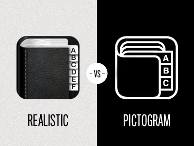 Dribbble - Icon - Realistic vs Pictogram by Leigh Hibell #icon #logo #app #pictogram