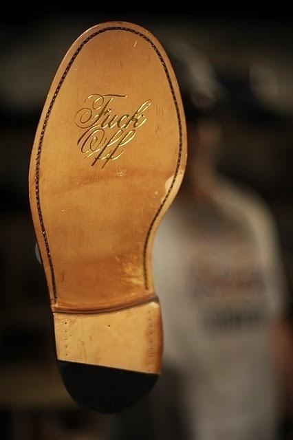 Quipsologies #emboss #script #classy #subtle #shoe #gold #typography