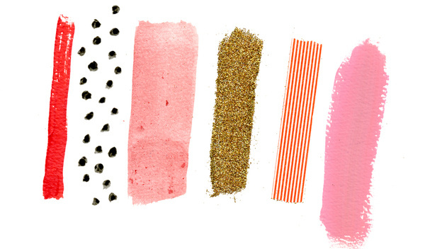 A R T W O R K Jessica Bruggink #paint #tape #line #red #pink #watercolor #dots #gold