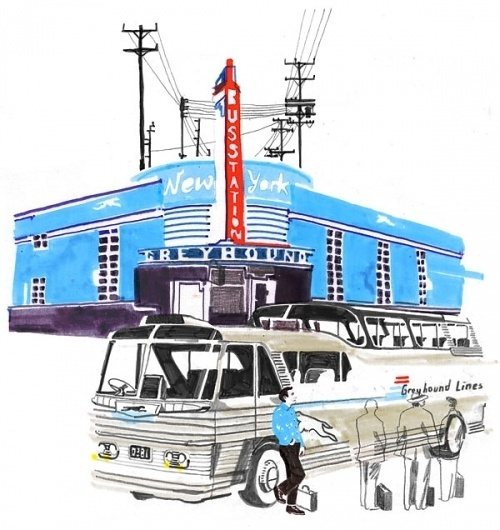 Kerouac : Holly Wales #bus #marker #city #greyhound #ilustration