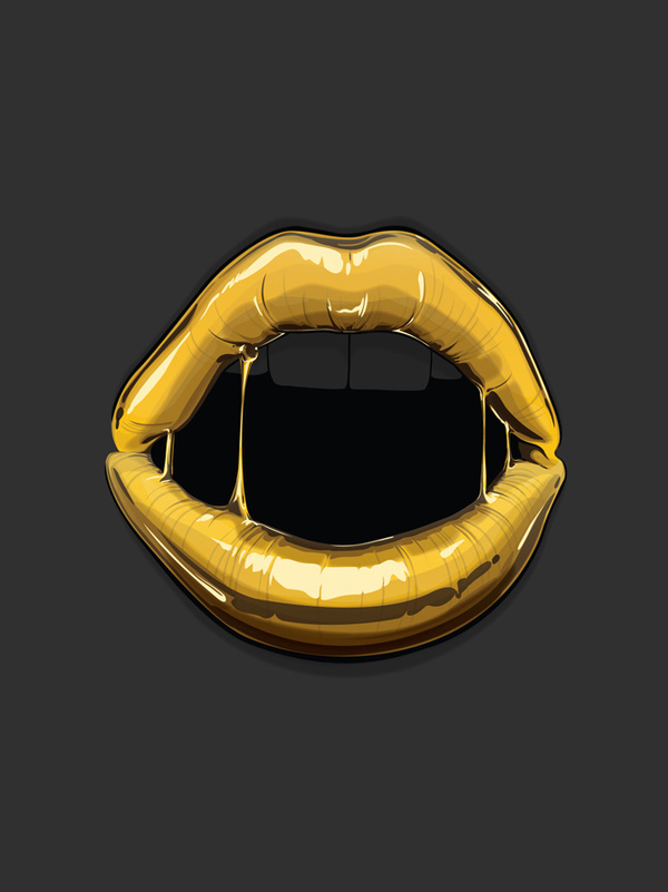Goldie series by Gaks #illustration #lips #gold