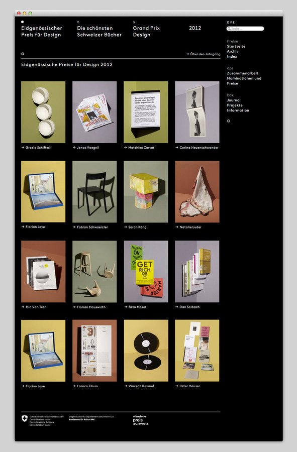 Swiss Federal Design Awards #website #layout #design #web