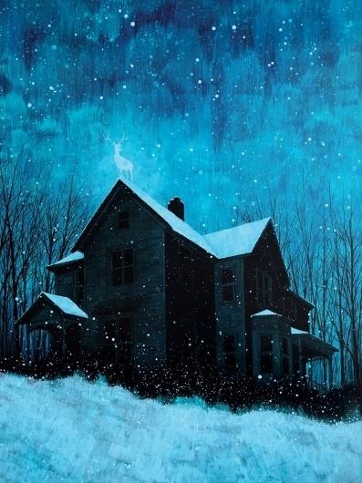 housesmalls2.jpg (JPEG Image, 660x880 pixels) #design #cold #snow #illustration #daniel #art #blue #dark #danger