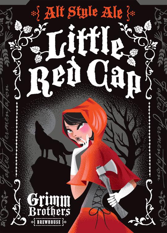 Grimm Brothers' Little Red Cap #beer #ornate #packaging #label #illustration #grimm
