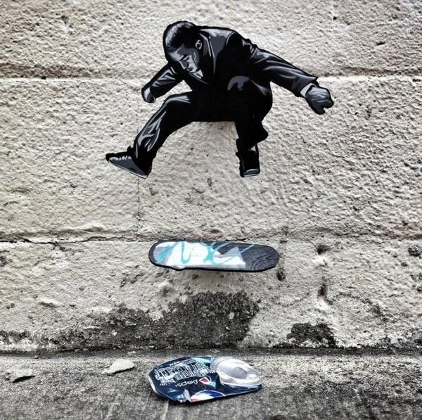 Tiny Wooden Figures Street Art #skateboarding #art #street