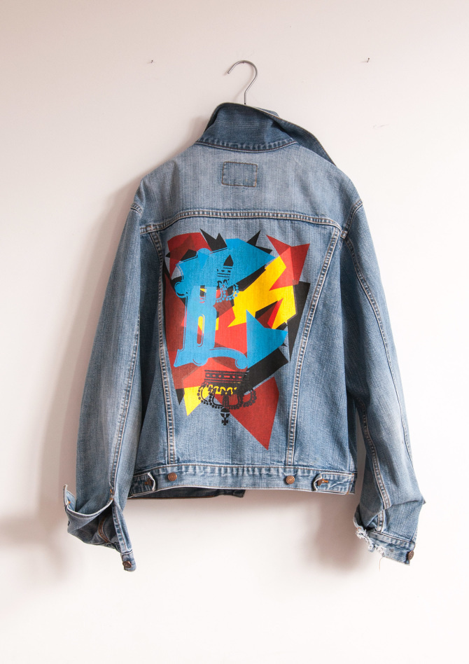 6 color screenprinted denim jacket inspired by Notorious B.I.G.'s Juicy