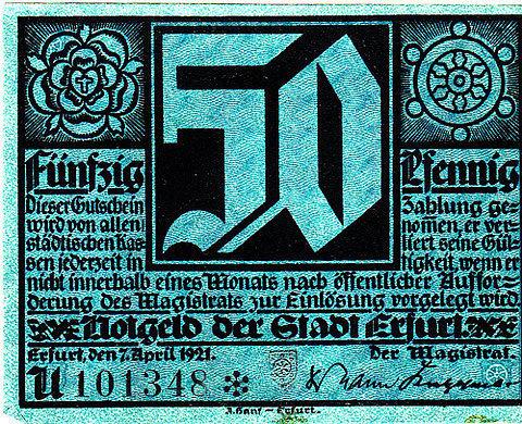 Erfurt, 50 pf, 1921 on Flickr Photo Sharing! #blackletter #vintage #typography