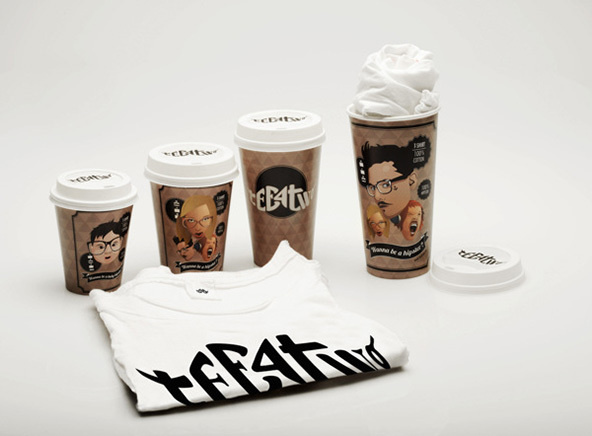 Coffee Cup T-shirt Packaging #packaging #design #tshirts