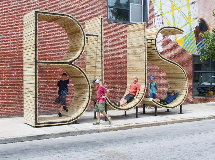 BUS stop in Baltimore - three huge letters - www.homeworlddesign. com (8) #bus #urban #design #station