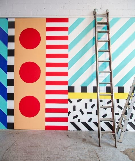 Dot stripe slash block and sprinkle. The gallerywalls at Koskela are looking so vibrant and fun after Camille Walala worked her magic on th